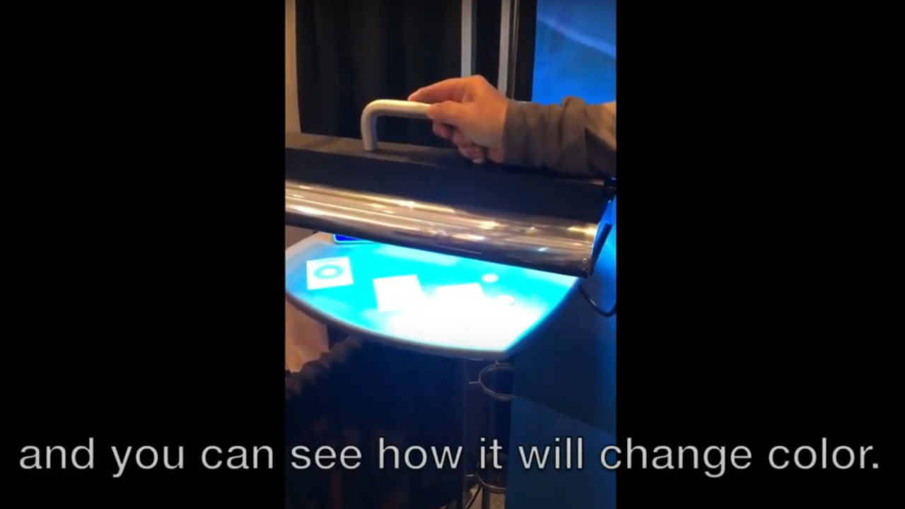 Demonstration of color-change in chemical based UVC dosimeters